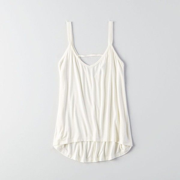 AEO Don't Ask Why Strappy Hi-Low Tank ($19) ❤ liked on Polyvore featuring tops, white, white singlet, white tank, white tops, relaxed fit tank top and white tank top