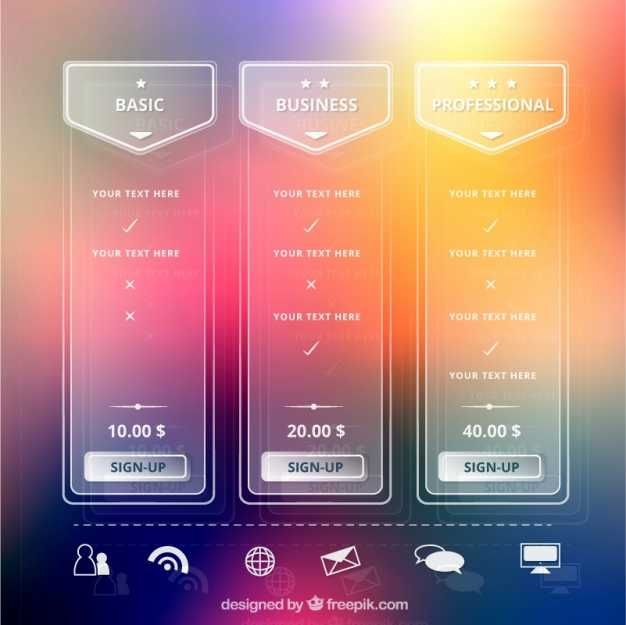 Transparent Tables Web Elements With Different Pricing Plans - FREE