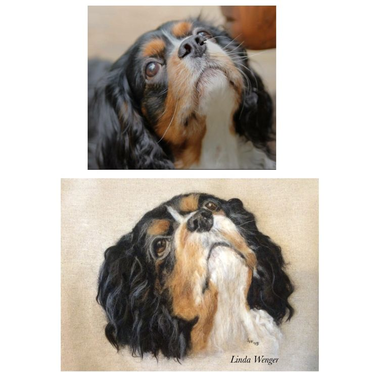 Casey, photo and needle felted painting by Linda Wenger