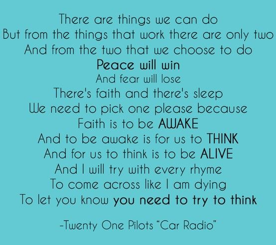 Twenty e Pilots Car Radio Lyrics