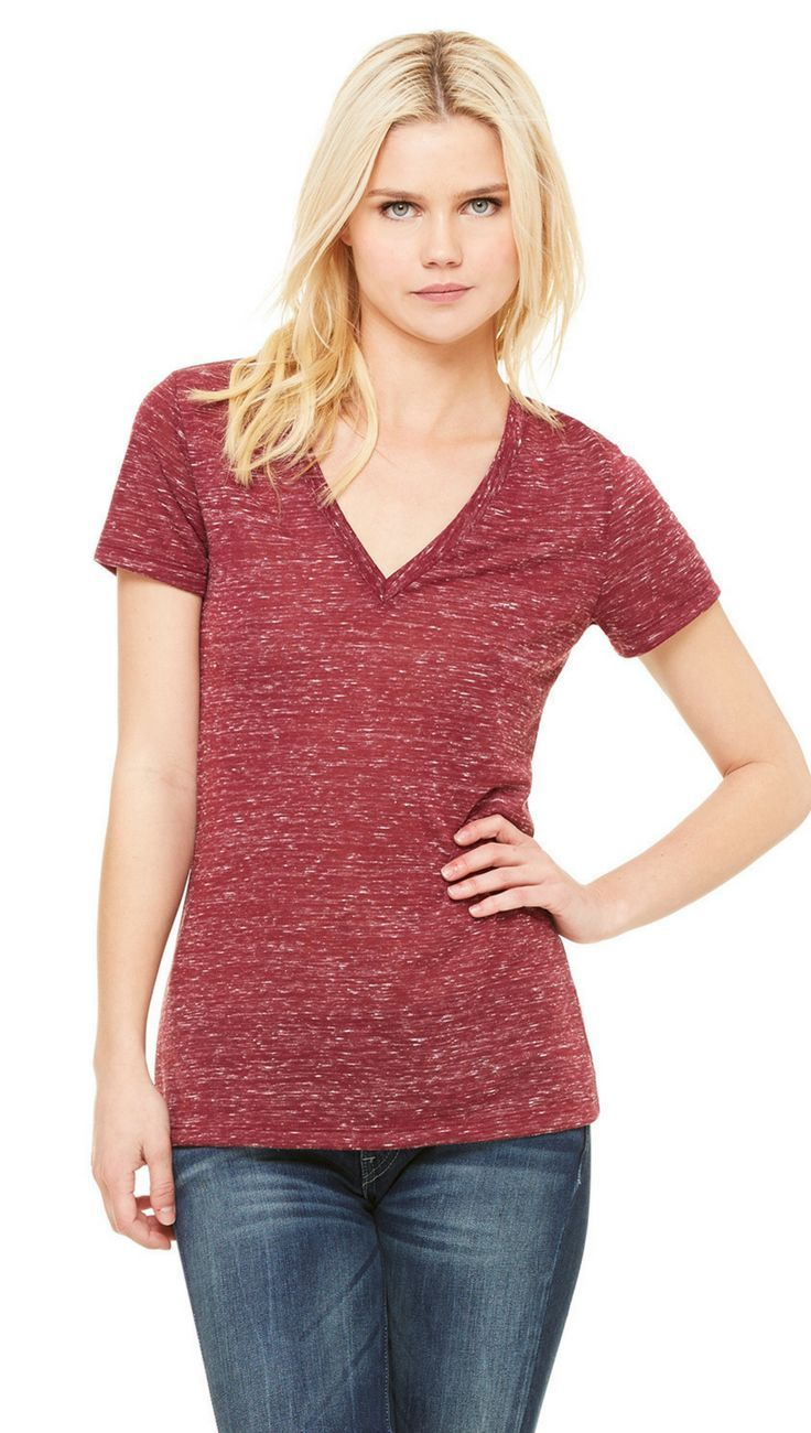 33936d31 Ladies Jersey Short-Sleeve Deep V-Neck T-Shirt   Popular Womens ...