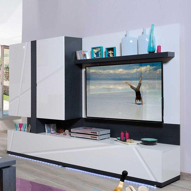 Wohnzimmer Wohnwand Mit LED Beleuchtung Schwarz Weiss 4 Teilig Jetzt Bestellen Unter