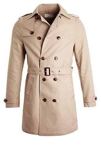 #Pier One Trenchcoat für Herren in Beige – Kurzer Zweireiher Mantel, S, 04054789420395