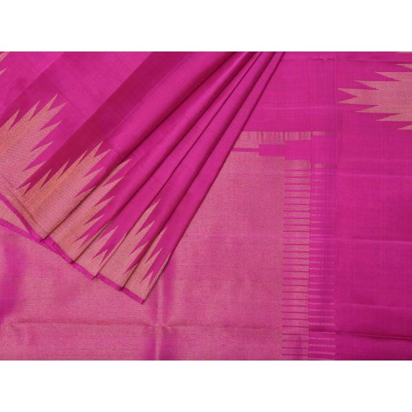 Pink Kanchipuram Silk Handloom Saree with Temple Border Design k0196