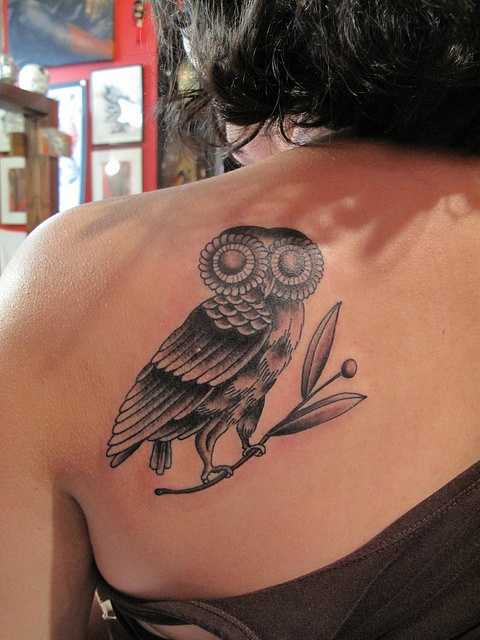 Greek owl all three of my girls have greek names love for Athena owl tattoo