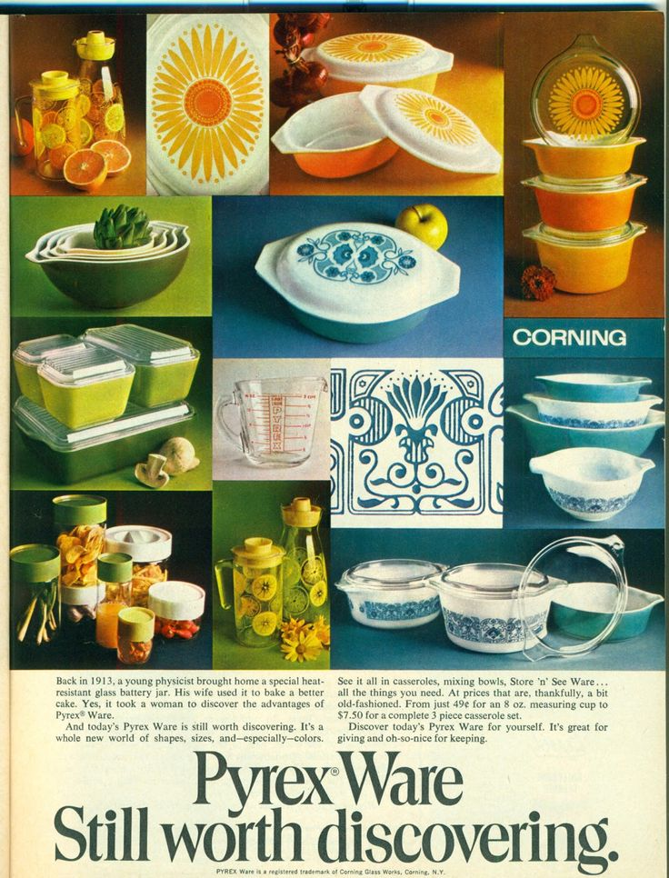Vintage Pyrex advertisement featuring Daisy and Horizon Blue patterns