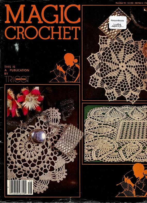 Crochet Magazine - MAGIC CROCHET Vintage Magazine Pattern Book - Issue Number 16 - Thread Crochet Patterns - 1980's