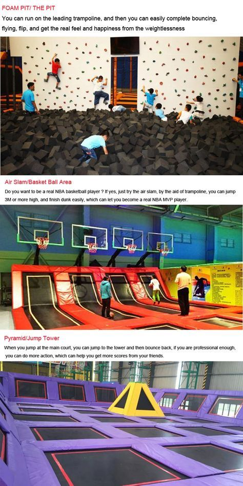 Indoor Trampoline Park with basketball,ball pool,foam pit,dodgeball arena. You can make some of these at home