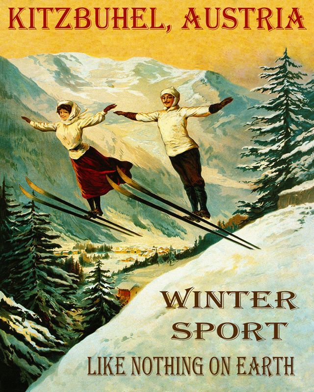 POSTER NORWAY DOWNHILL SKIING SKI SNOWBOARD WINTER SPORT VINTAGE REPRO FREE S//H