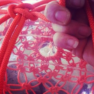 Making giant macrame baubles for the 'Etsy at David Jones' event.  Sydney December 2014