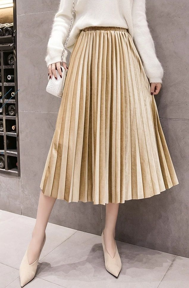 4ccc224897 ... Light golden pleated metallic velvet women midi skirt autumn winter  office work casual everyday ladies pleated skirt fall spring high waist gold  ...