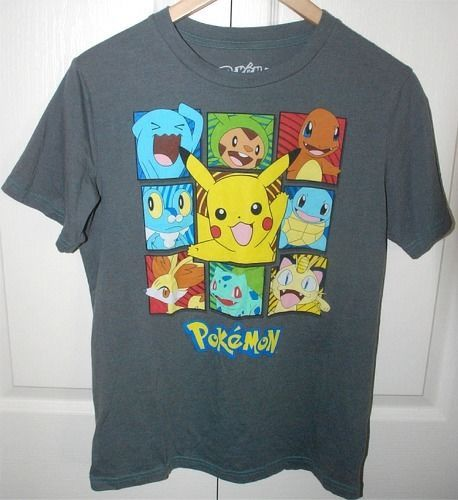 Pokemon Nintendo Game Freak Gray T-shirt XL 2015 Pikachu, Froakie, Squirtle MORE #Pokemon #GraphicTee