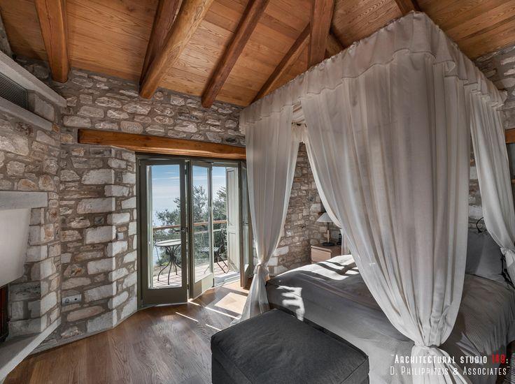Bedrooms _ interior design | stone | sea holiday house | Pelion | Sporades | fireplace _ visit us at: www.philippitzis.gr