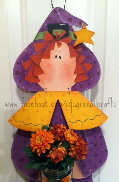 I painted this cute witch using a Renee Mullins design www.facebook.com/squarenailcrafts