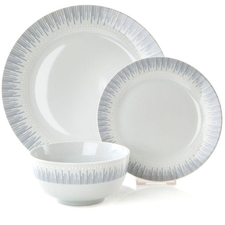 12pc Eva Dinner Set #Sabichi #dining #dinnerware #mochrome #grey #white  sc 1 st  Pinterest & 59 best Lovely Dinnerware images on Pinterest | Bone china Cutlery ...