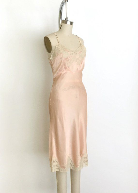Embroidered pink silk slip  Small peach Chinese nightgown  Vintage Lingerie