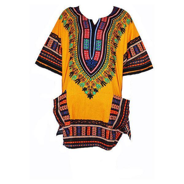 Dashiki Shirt African Dress Tribal Festival Kaftan Style Boho Hippie... ($17) ❤ liked on Polyvore featuring dresses, black, women's clothing, african caftan, long caftan, cotton kaftan, african kaftan and long kaftan