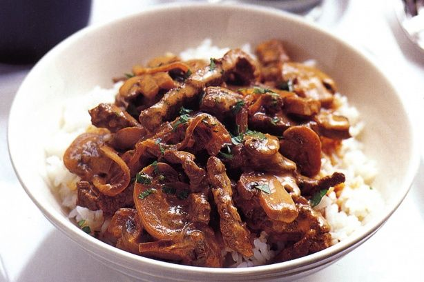 Beef Stroganoff with RICE - Used left over roast meat and the broth from the roast (instead of bouillon cube) for this recipe and it turned out perfect!  WAY YUMMY!