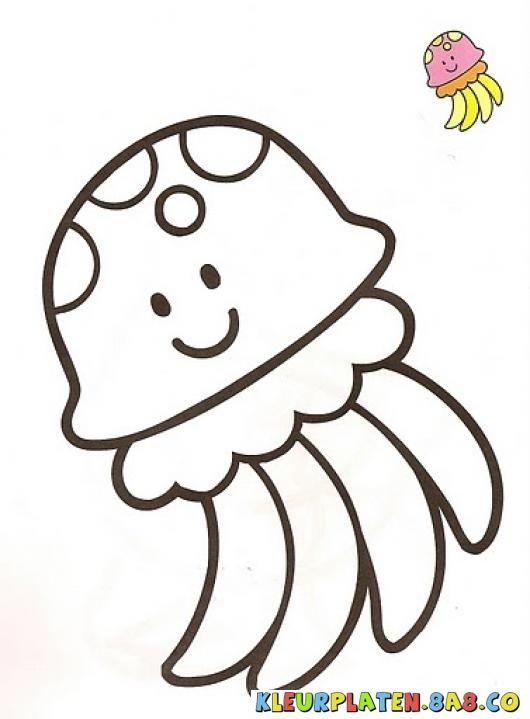 kwallen toont Kleurplaten | KLEURPLATEN MET VOORBEELDEN | Tekening van een verfmonster kwal | kleurplaten.8a8.co