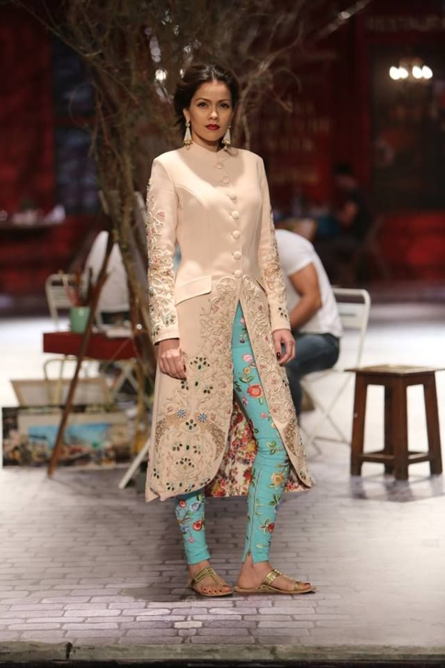 Monisha Jaising at India Couture Week 2014 - blue floral embroidered legging cigarette pants with long cream jacket