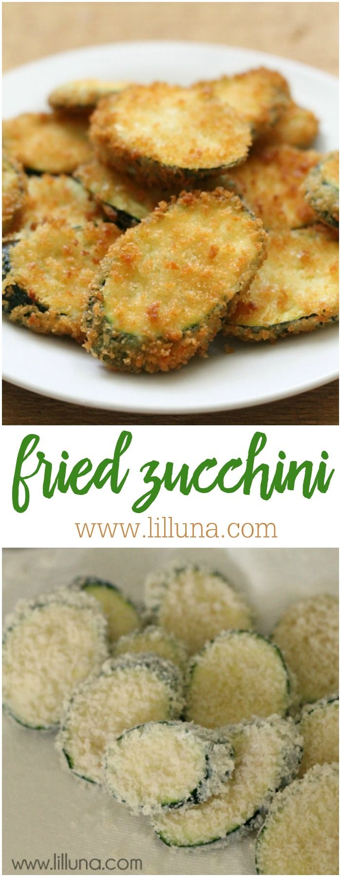 Fried Zucchini recipe - one of the most delicious side dish recipes you'll ever try. I could eat the whole plate.