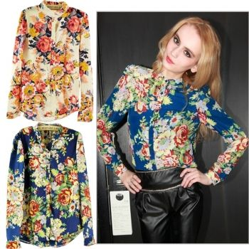 Women Long Sleeve Floral Pattern Cardigan Chiffon Blouse Tops Shirts 2Colors