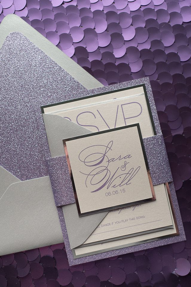JESSICA Suite Fancy Glitter Package, beautiful lavender and silver wedding invitation, purple glitter, calligraphy wedding invitation