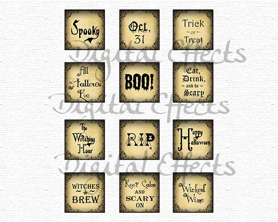 12 halloween tags 2x2 square halloween slogans by digitaleffects - Halloween Slogans