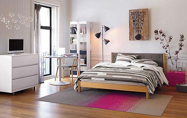 Chambre moderne d'ado fille avec couleurs sobres