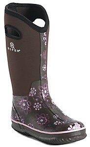 Roper� Womens Brown w/ Pink Floral Print Round Toe Muck Boot