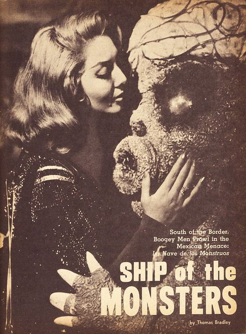 """Lorena Velasquez (Beta) with """"Cerebro Gigante"""" from Nave de los Monstruos (Ship of the Monsters). Magazine layout from Fantastic Monsters of the Films"""