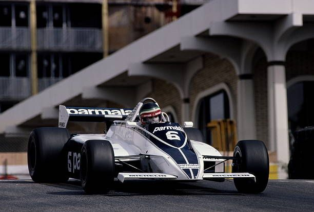 Hector Rebaque of Mexico drives the #6 Parmalat Racing TeamBrabham BT49C Ford Cosworth DFV 3.0 V8 during the United States Grand Prix West on 15th March 1981 at the Long Beach street circuit in Long Beach, California, United States.