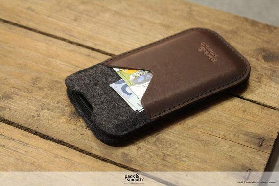 iPhone 5 s/5 iPhone 5c pochette Housse Etui - KIRKBY - 100 % laine feutre, manchon pur cuir tanné végétal