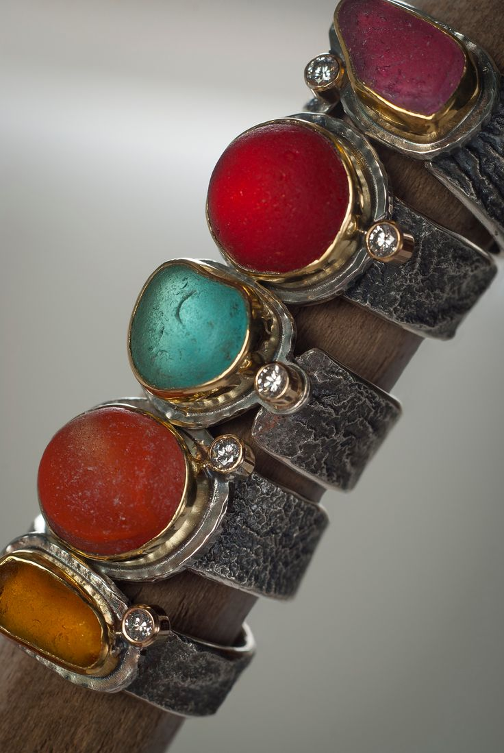 Sea Candy rings-Victorian era sea glass in rare shades, with gold and reticulated silver, diamonds. Photo by Marcy Merrill