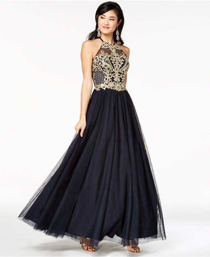 9303a74ba69 Blondie Nites Juniors  Embellished Halter Gown Junior Dresses