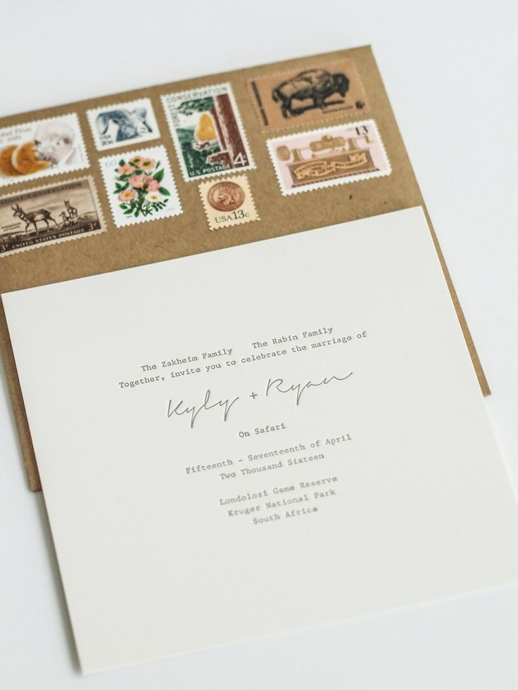 We wanted a simple, sleek letterpress invitation in muted tones that would evoke the spirit of the South African bush. I chose vintage stamps so the envelope would mimic an old piece of luggage. From her impressive work on business cards at my favorite neighborhood stores, I tracked down Kristine Arellano of Presshaus L.A. She not only designed and printed our invitations, but also built a custom website in the same palette and created all of the paper goods for the entire wedding…