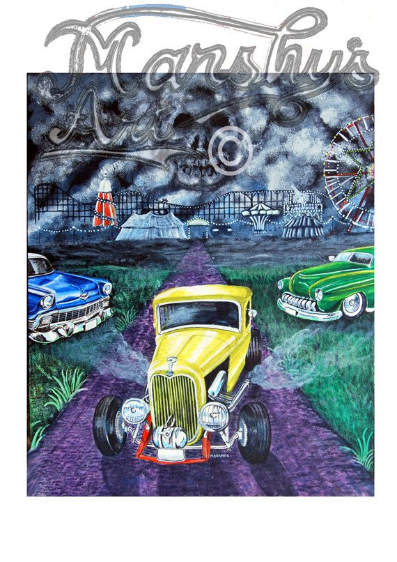 Hotrod art print 32 Ford  57chevy lead sled by by MarshysArtuk