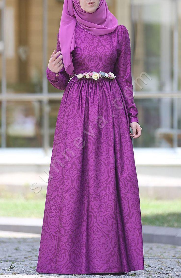 Pileli Sade Sultan Elbise - Mürdüm