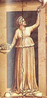 """art. when he inquired after the kitchen-maid he would say: """"Well, how goes it with Giotto's Charity?"""" Swann's Way (art) Ceux-ci rappelaient les houppelandes qui revêtent certaines des figures symboliques de Giotto dont M. Swann m'avait donné des photographies. C'est lui-même qui nous l'avait fait remarquer et quand il nous demandait des nouvelles de la fille de cuisine, il nous disait: « Comment va la Charité de Giotto? » (Du côté de chez Swann)"""