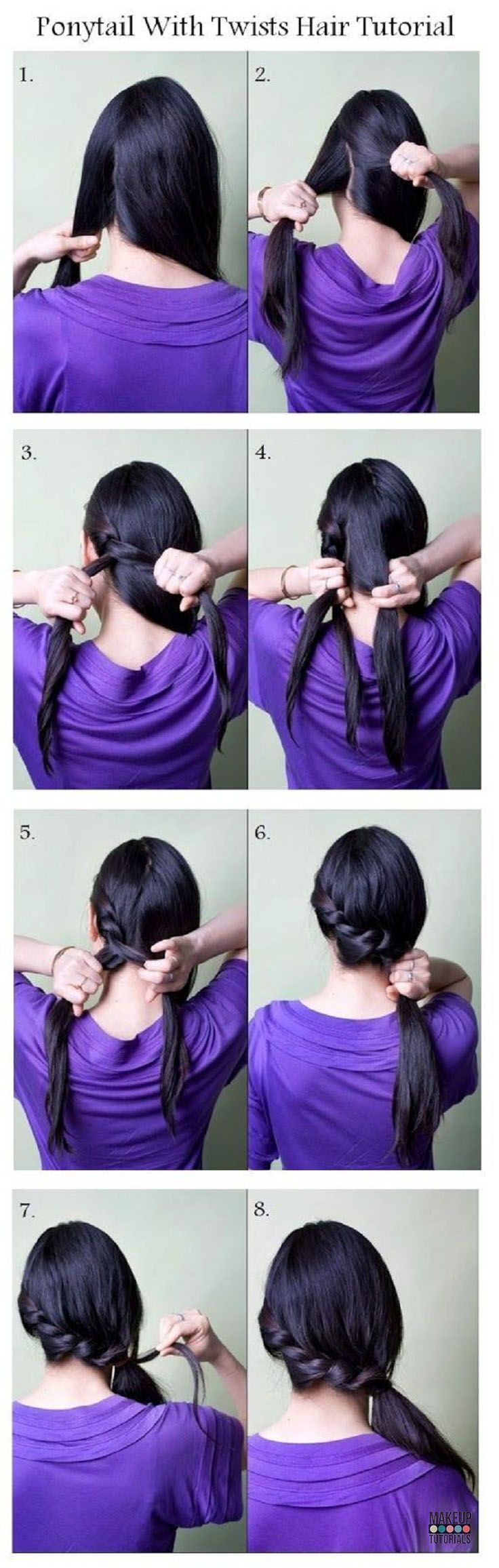 japanese online fashion Ponytail With Twist Hair Tutorial   Classy and Casual Ponytail for Long Hair by Makeup Tutorials http   makeuptutorials com easy hairstyles for work