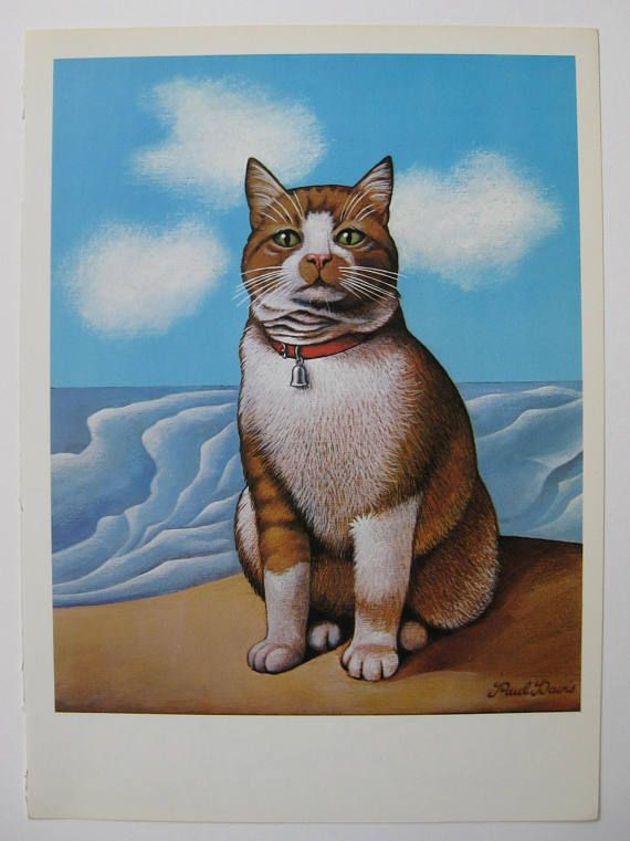 Vintage Book Print Of A Painting From 1975 By Paul Davis Matthews Cat A Gorgeous Simple Image Of A Ginger Cat On A Vintage Art Prints Cat Posters Vintage Cat