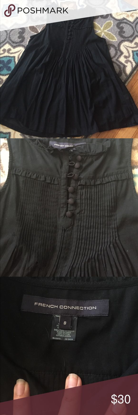 French Connection Blouse EUC French Connection sleeveless blouse. Cute pleating details on front and back. Buttons. Two front pockets. Sheer and longer length French Connection Tops Blouses