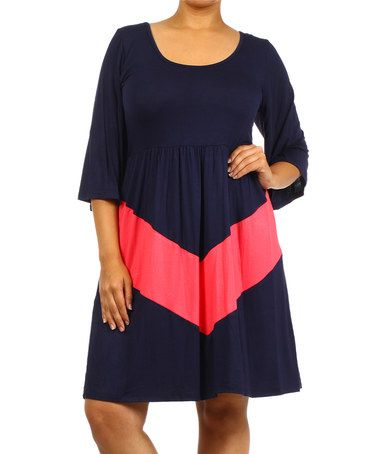 Another great find on #zulily! Navy & Coral Chevron Scoop Neck Dress - Plus by J-Mode USA Los Angeles #zulilyfinds