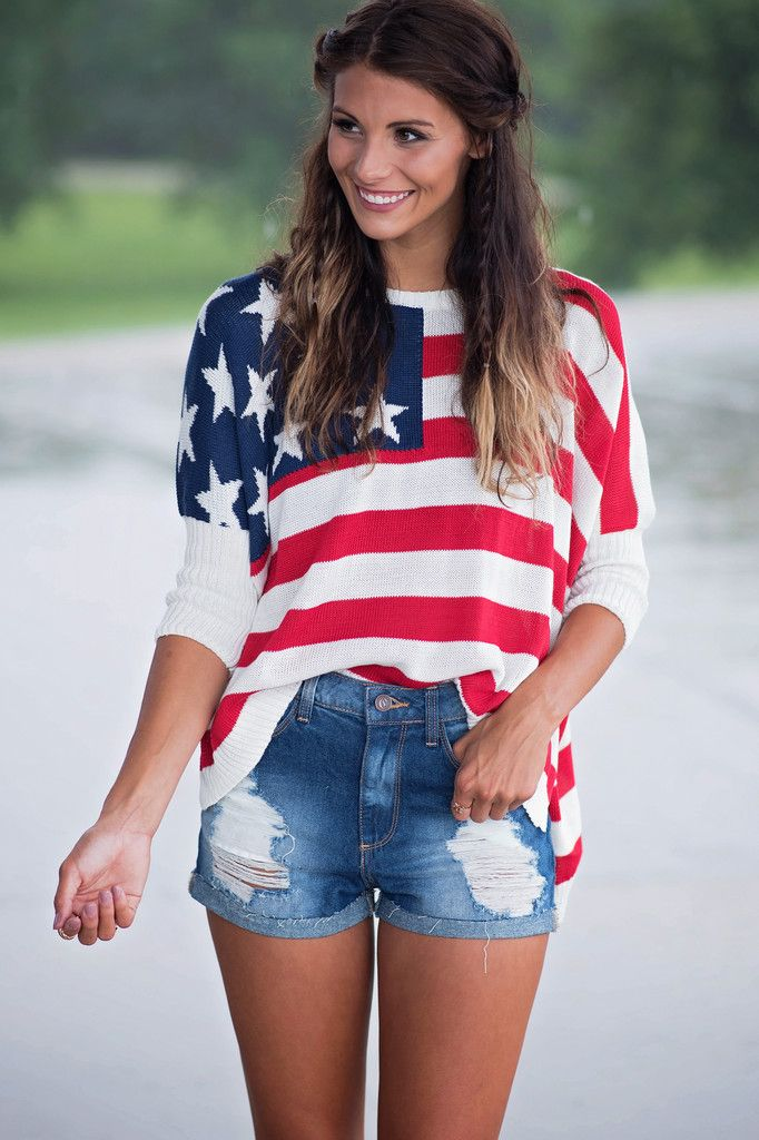 America the Beautiful Sweater, $34.00 #sweater #lightweight #redwhiteandblue #starsandstripes #highlow #4thofjuly #lookbook #singlethreadbtq #shopstb #boutique