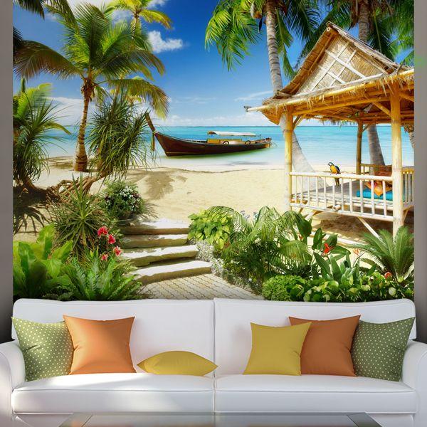 papier paint vinyle plage des cara bes papierpeint vinyle mur d coration deco. Black Bedroom Furniture Sets. Home Design Ideas