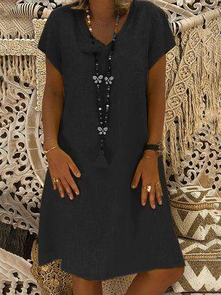 e205ecddaf98 V-Neck Shift Women Short Sleeve Casual Solid Summer Dress
