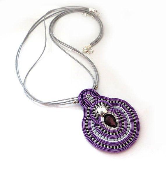 Purple necklace soutache OOAK soutache pendant by sutaszula