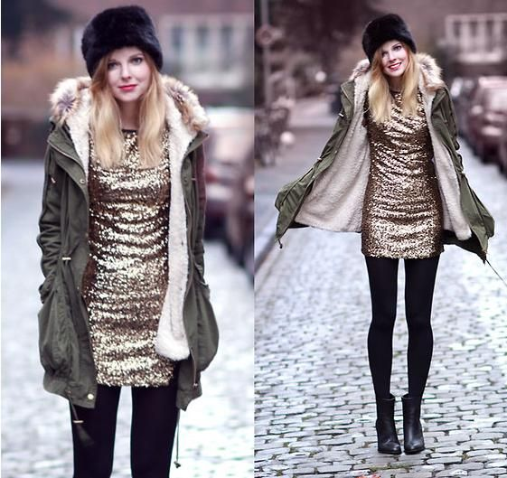 Gold Sequin Dress With Hooded Olive Green Anorak Black