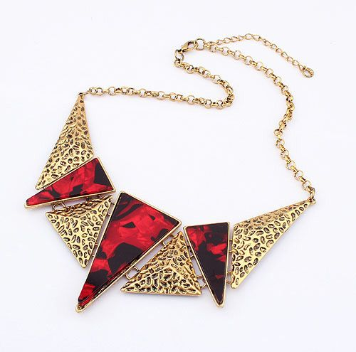 Wholesale Exquisite Fashion Figured Triangle Stone Embellished Pendant Alloy Necklace For Women (RED), Necklaces - Rosewholesale.com
