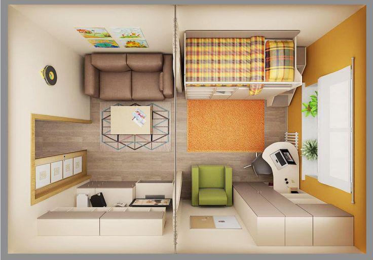 планировка дизайна гостиной-детской